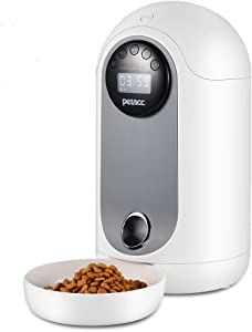 Petacc Automatic Cat Feeder 2.8L Pet Food Dispenser for Small Dogs Cats with Distribution Alarms, Portion Control, Voice Recorder, Programmable Timer for up to 12 Meals Per Day