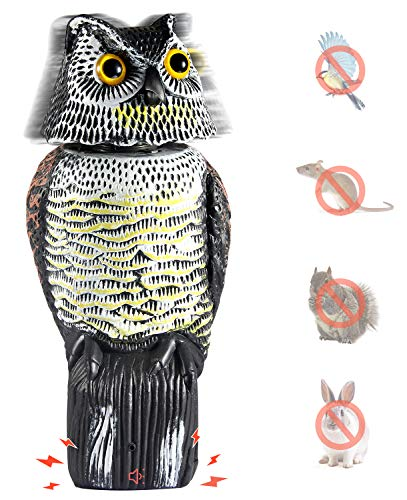 Ohuhu Horned Owl Decoy Tweet, Light-Control System Natural Enemy Pest Deterrent Scarecrow Rotating Head Pest Control Repellents ()