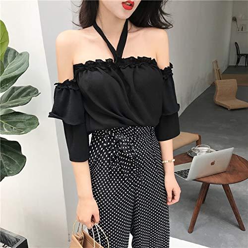 POLPEP 2018 Korean-Style Retro Fashion Strapless lace Collar Shirt Halter Bra Chiffon Women Girls Creative Summer Tide (Black