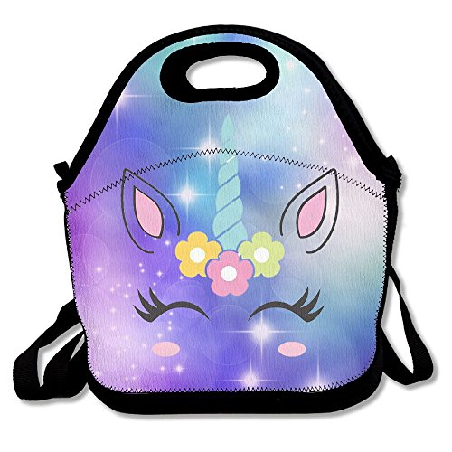 Vintage Cute Unicorn Face Portable Lunch Bag Lunch Organizer Tote Bags Travel Picnic Food Lunch Box Lunch Container For Women Men Girls Boys Kids