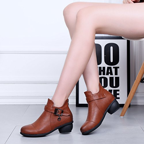Boots Top Mid wool Flat Shoes Casual Brown Square Rumba Womens Dance Cozy Toe Closed Lining 6827 Ballroom Abby Modern xwvqzgPRT