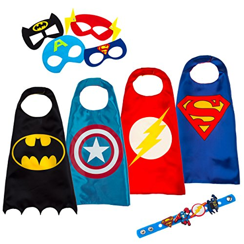 Superhero Costumes for Kids - 4 Capes and Masks Toys for Boys Girls - Glow Logo (Superheroes Villains Costumes)