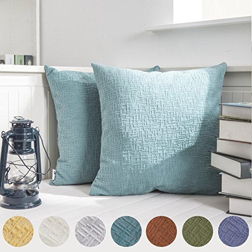 Kevin Textile Solid Velvet Decoration Toss Throw Pillow Case Cushion Cover Comfortable Pillow Cover Soft Striped Decorative Pillowcase for Bed/Chair/Couch, 18