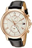 Tommy Hilfiger Women's 'Sophisticated Sport' Quartz Gold and Leather Casual Watch, Color:Black (Model: 1781817)