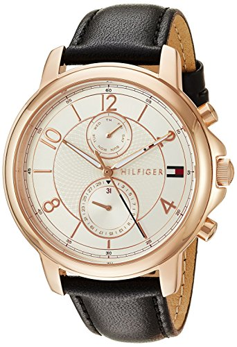 Tommy Hilfiger Women's 'Sophisticated Sport' Quartz Gold and Leather Casual Watch, Color Black (Model: 1781817)
