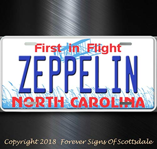 (Led Zeppelin Rock and Roll Group Band North Carolina Aluminum Vanity License Plate Tag)