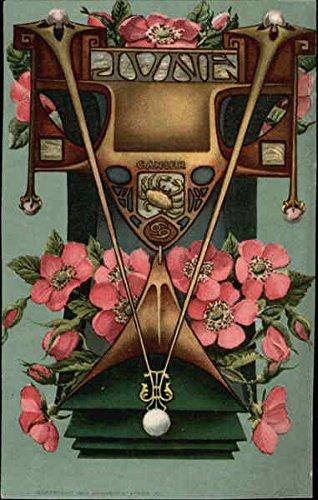 June Sumbols, Including Pearls, Honeysuckle Blossoms, and Cancer Sign Original Vintage Postcard Honeysuckle Blossom