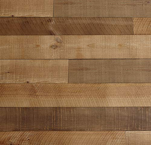 (Timberwall - Barnwood Collection Heritage Brown - Wood Wall Panel - Solid Wood Planks - Easy Peel and Stick Application - 9.7 Sq Ft)