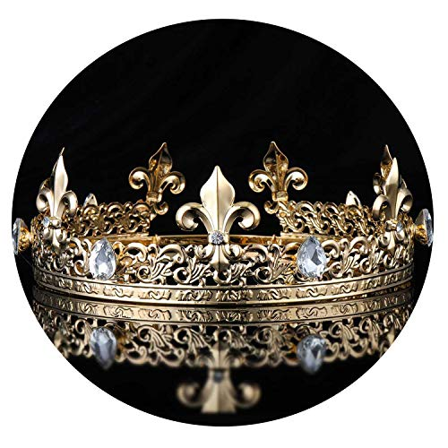 Men's Imperial Medieval Gold King Full Round Crown Tiara Crystal Rhinestone Adjustable Fleur De Lis Decor Diadem Party Costumes
