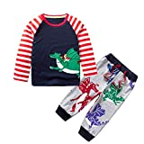 Little Boy Dinosaur Autumn Sets,Jchen(TM) Kids Infant Baby Little Boys Animal Dinosaur Print Cartoon Striped Tops+Pants Outfits for 1-7 Y (Age: 3-4 Years Old)