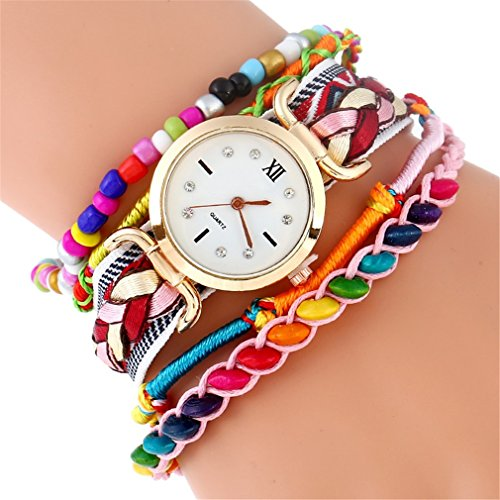 Fashion Rainbow Strap Bracelet Women Watch Ethnic Wooden Beads Wristwatch Quartz Pink