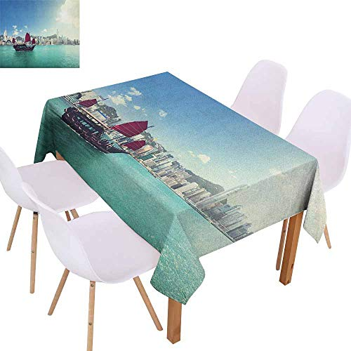 Restaurant Tablecloth Sailboat Hong Kong Harbour Skyline Architecture Buildings Cloudy Sky Ship Cityscape Picnic W50 xL80 Mint Blue White