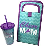 Cheer Mom Lunch Tote and Tumbler Bundle includes 2 items: 1 Insulated Cheer Mom Aqua Chervon Design Lunch Tote and 1 Matching Tumbler.