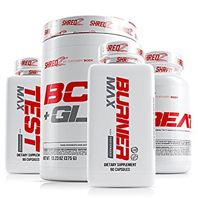 SHREDZ 30 Day Weight Loss Results Supplements for Men - Clinically Tested Ingredients, Burner MAX, Creatine, Testosterone, BCAA + Glutamine (Pink Lemonade)