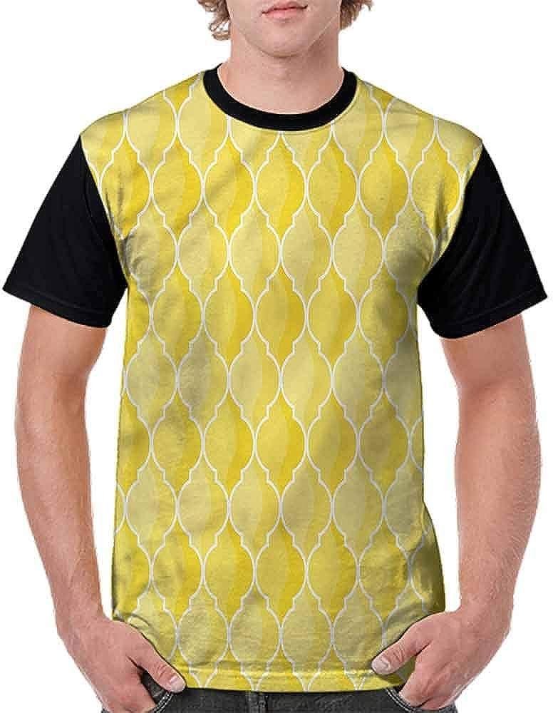 BlountDecor Casual Short Sleeve Graphic Tee Shirts,Ancient Moroccan Trellis Fashion Personality Customization