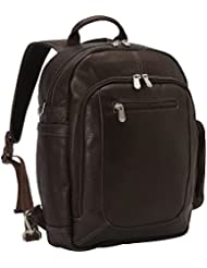 Piel Leather Laptop Backpack Shoulder Bag, Chocolate, One Size