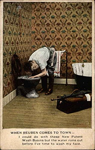 Man washing hair in toilet Comic Funny Original Vintage Postcard