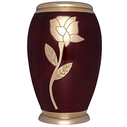 Burgundy Gold Rose Funeral Urn by Liliane - Cremation Urn for Human Ashes - Adult Size - Hand Made in Brass - Display Urn at Home or in Niche at Columbarium - Talia Model (Enamel with Gold Flower)