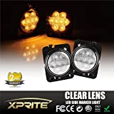 Xprite LED Amber Yellow Front Fender Side Marker Light Assembly with Clear Lens for 2007 - 2017 Jeep Wrangler