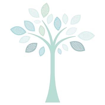 Wandtattoo Kinderzimmer Baum mit Pastellfarben in türkis und mint  Wandsticker