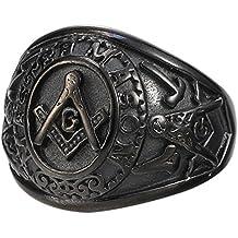 Mens Black Plated Stainless Steel Mason Masonic Freemason Ring Band All Sizes