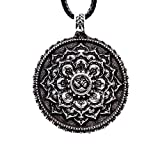 Yoga Necklace for Women Men Tibetan Om Lotus Mandala Pendant 4029 (4029, Antique Silver)