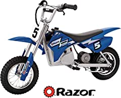 "The Razor Dirt Rocket MX350 is a miniature electric motocross bike. Scaled down dirt bike design carries riders up to 150 lbs. Geared for dirt with large 10"" pneumatic knobby tires for maximum power transfer. Can travel over 10 miles on a sin..."
