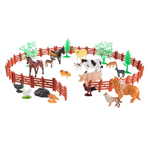 Toy Farm Animal Figures and Barnyard Accessories Set- Includes Fence, Horses, Cows, Pigs, Chickens and More Animals for Pretend Play