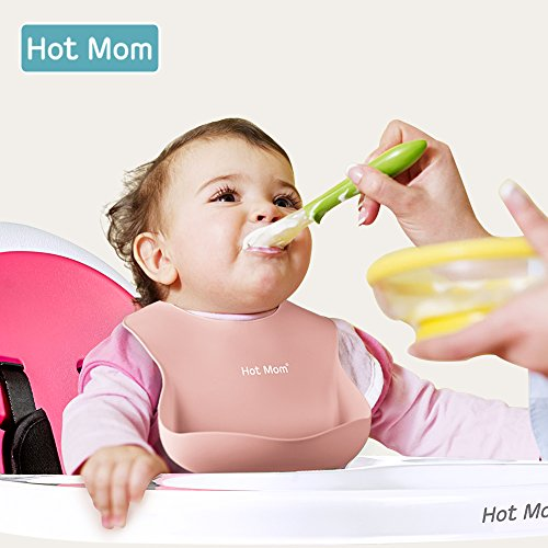 Hot Mom Baby Bibs Waterproof Baby Feeding Bibs Easy to Clean Soft Silicone Bib with Food Catcher, Food Pocket for Mealtime with Babies or Toddlers! (Pink)