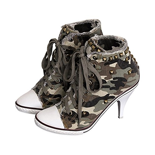 Fereshte Women's High Heel Camouflage Lace Up Fashion Sneaker Booties Camo Stiletto Label 39 - US 8