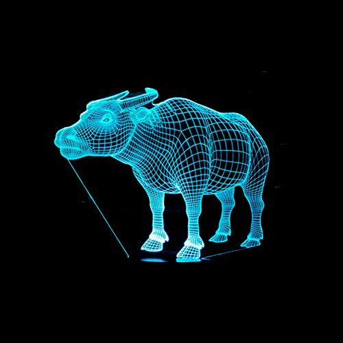 LT&NT Buffalo 3D Optical Illusion Visual Night Light, Touch led Desk Table lamp, 7 Colors Change and USB Power, Kids Baby Sleeping nightlight, Festival Gift Decoration -A ()
