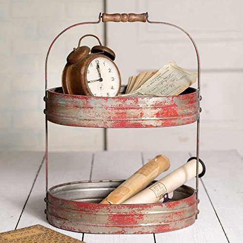 Colonial Tin Works Weathered Red/Grey Two Tier Serving Caddy/Tray-Industrial Farmhouse Chic,12-1/2 Wide x 9-1/2 Deep x 17 Tall