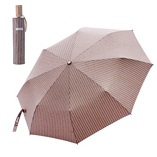 Reinforced Shell - Leodauknow-Compact Travel Umbrella Windproof and waterproof reinforced Canopy, 210T Cationic Fabric super Waterproof shell fabric, Manual Open Close (Brown)
