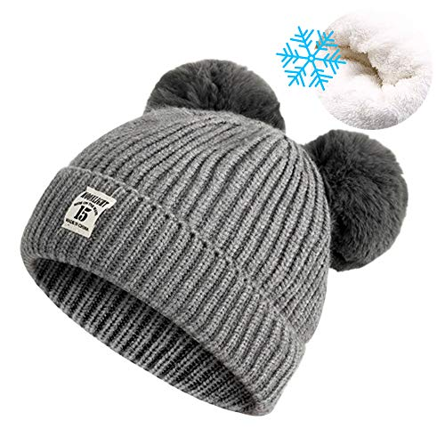 Unisex Baby Winter Hat Cute Warm Knit Fleece Lined Skull Cap Soft Crochet Beanie Hats with Fur Ball for Toddler Infant Girls and Boys 6-24 Months, Gray