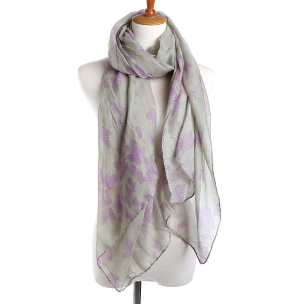 Chic-Dona Release Butterfly Pattern Spring Scarf for Women Voile Multi-Functional Fashion Shawl Silver 190cm X 90cm