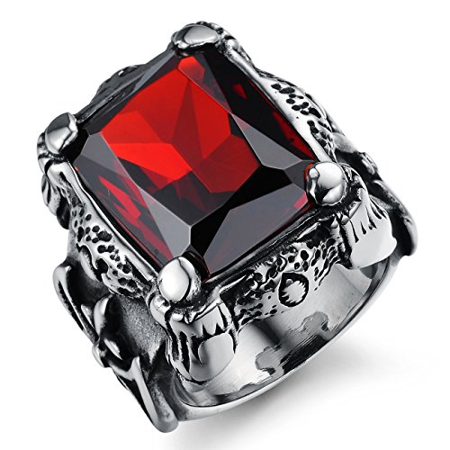 18 Polished Chrome Steps (Double FNT Men's Big Zirconia Ruby Stainless Steel Gothic Finger Rings Size 8)