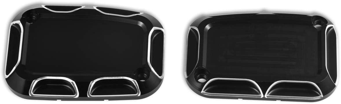 KATUR Motorrad Hauptbremszylinderabdeckungen Schwarz Chrom Aluminium CNC Hauptbremszylinder Fl/üssigkeitsbeh/älter Fit f/ür Harley Road King Gliding Master Abdeckung Dyna 1 ST/ÜCKE