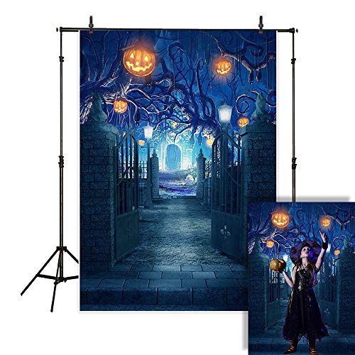 Allenjoy 5x7ft Halloween Photography Backdrop Night Blue Scary Forest Jack O'Lantern Pumpkin Lantern Graveyard Fence Background Children Party Decorations Cake Table Banner Photo Studio Booth -