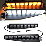 Wecade 48 LED 12V 48W Dashboard Deck Truck Boat Windshield Emergency Warning Flashlight Strobe Light Lamp Bar with Suction Cups (Amber/White)