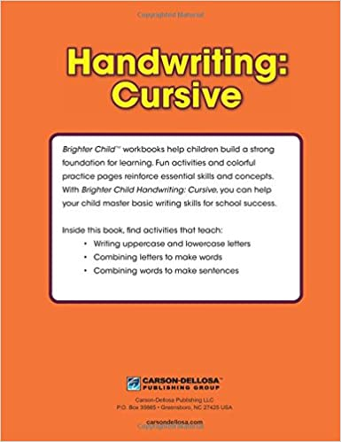 Handwriting: Cursive Workbook: Brighter Child, Carson-Dellosa ...
