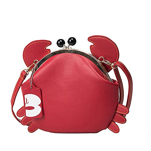 - YSMYWM Women PU Leather Crab Shape Clasp Closure Tote Handbag Cute Satchel Cross Body Bag Shoulder Bag (Red)
