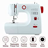 Coocheer Free-Arm Sewing Machine Electric for Beginner Starter 16 Stitches Multifunction 2 Speed Household Home Use Easy White & Red