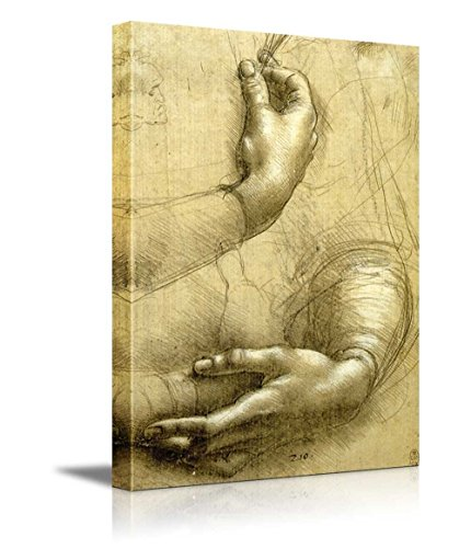Study of Arms and Hands by Leonardo Da Vinci Print Famous Oil Painting Reproduction
