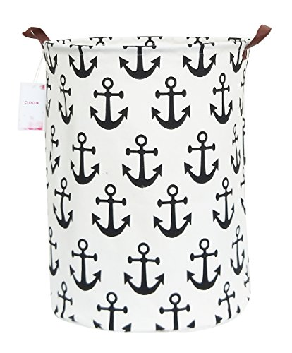 CLOCOR Large Storage Bin-Cotton Storage Basket-Round Gift Basket with Handles for Toys,Laundry,Baby Nursery(Anchor)