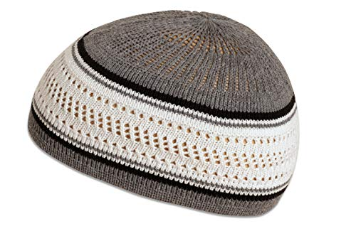 - 100% Cotton Skull Cap Chemo Kufi Under Helmet Beanie Hats in Solid Colors and Stripes (Gray and White with Black Stripes)