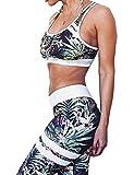 MACCHIASHINE Women's 2 PCS Pattern Print Sports Bra Pants Set Yoga Wear Set Racerback Bra and Leggings Tights(GR-S)