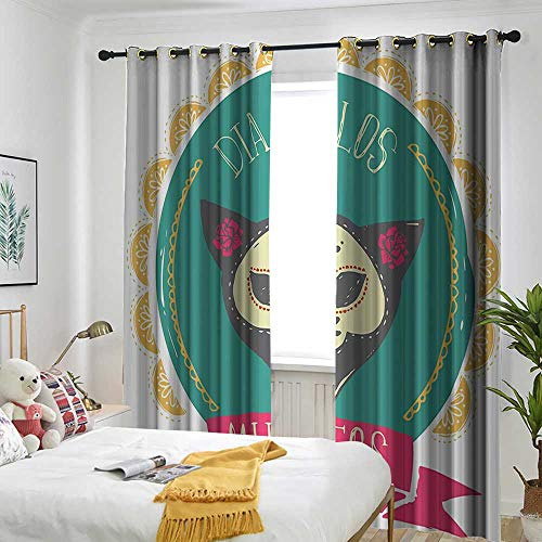 one1love Mexican Decorations Grommet Window Curtain Dead Themed Sugar Cat Skull Mask in Gold Circle Frame with Spanish Words Darkening Thermal Insulated Blackout 120