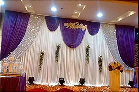 Amazon lb wedding and celebration stage decorations backdrop lb wedding and celebration stage decorations backdrop party drapes with swag silk fabric curtain 3x6m junglespirit Image collections