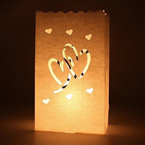 Fascola 20 x Double Love Hearts Paper Luminary Bag Tea Light Votive Candle Holder Bag Paper Lantern Beach Wedding Decoraiton
