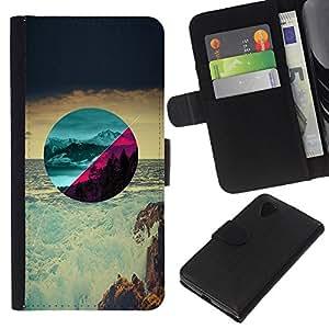 Hermosos paisajes - la tarjeta de Crédito Slots PU Funda de cuero Monedero caso cubierta de piel Para LG Nexus 5 D820 D821